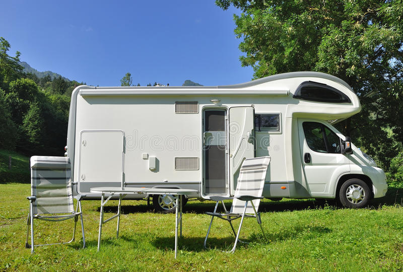 Download Camper Parked In A Countryside Stock Photo - Image: 29628020