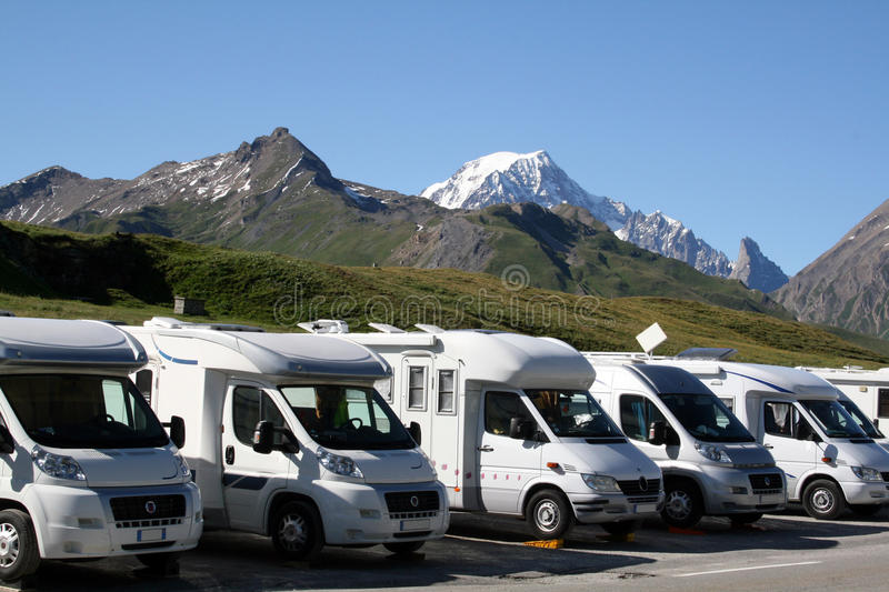 Camper parking royalty free stock photography