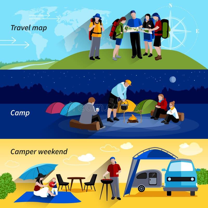 Camper People Banners Set vector illustration