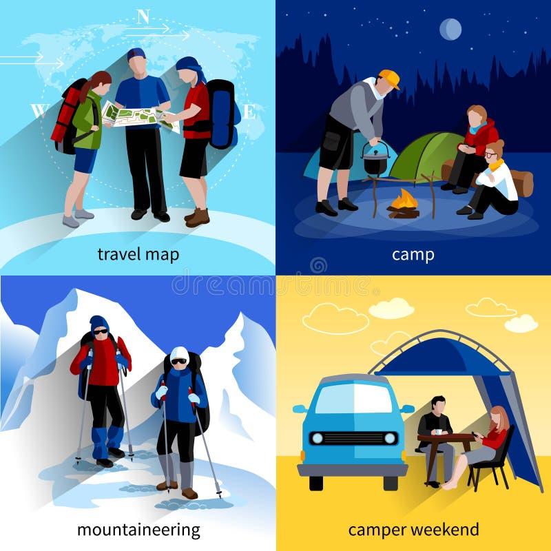 Camper People Icons Set vector illustration