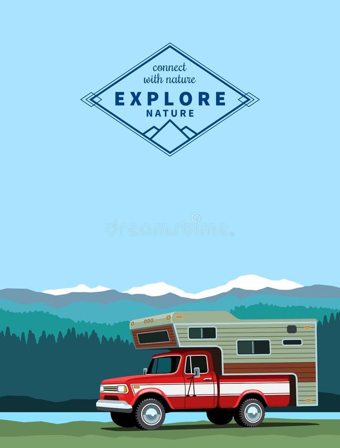Camper shell pickup truck royalty free illustration