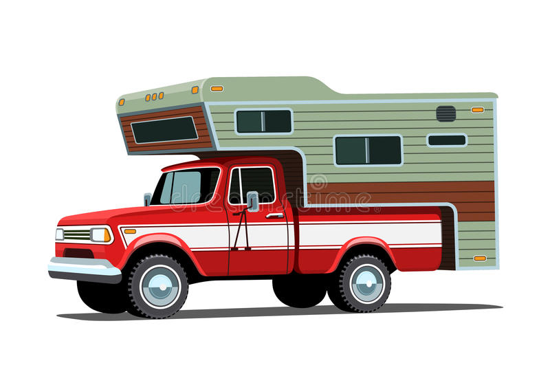 Camper shell on red pickup truck royalty free illustration
