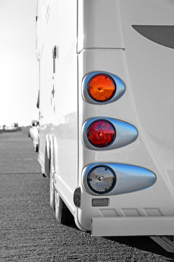 Camper tourer van tail lights. Photo of a camper tourer van parked at the seafront on kent coast of whitstable on 17th february 2015.photo ideal for touring royalty free stock photo