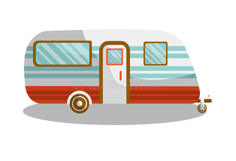Camper trail of camper bus of van. Vector isolated flat icon of motorhome car or vehicle for holiday trip or travel caravanette coach vector illustration