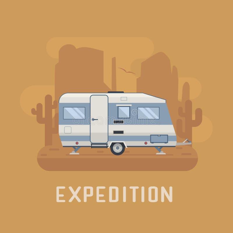 Camper Trailer on desert National Park Area royalty free illustration