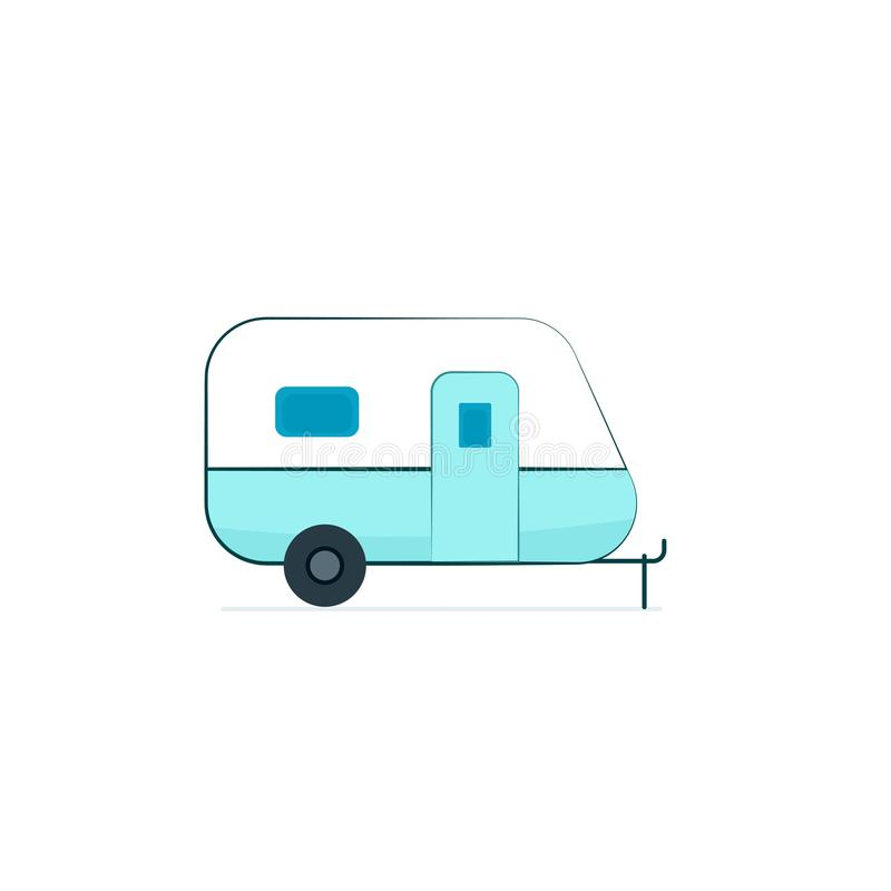 Camper trailer icon. Camping clip art isolated on white background stock illustration