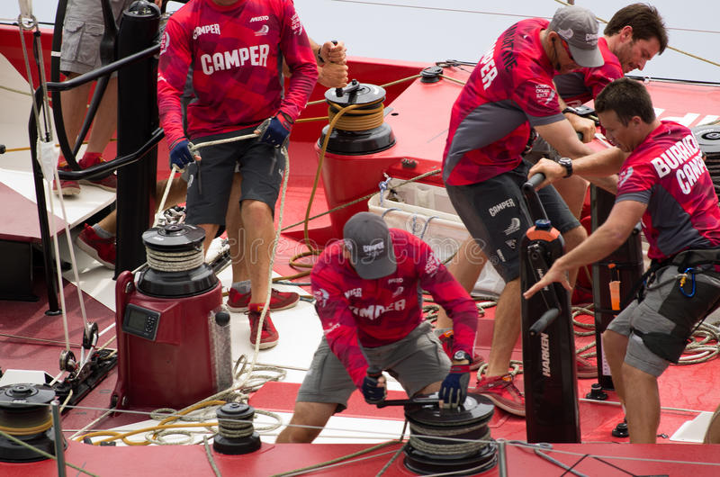 Camper Trimming Sail Editorial Stock Image