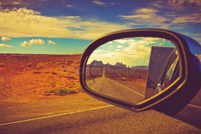 Camper Trip in Arizona. Travel Trailer Road Trip in Arizona. Looking Back and Saying Good Bye to the Famous Monuments Valley stock images