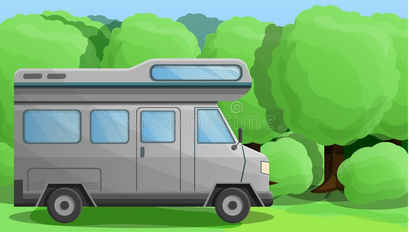 Camper truck concept banner, cartoon style royalty free illustration