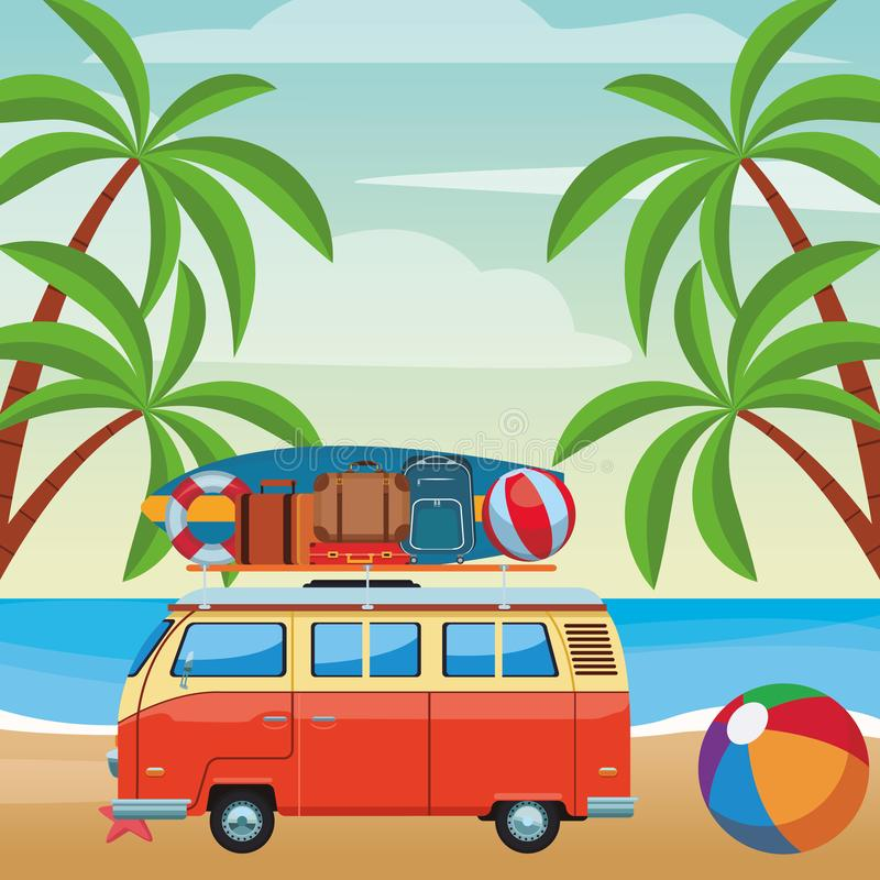 Camper van and beach items. Surfboard ball baggage buoy seascape colorful vector illustration graphic design royalty free illustration