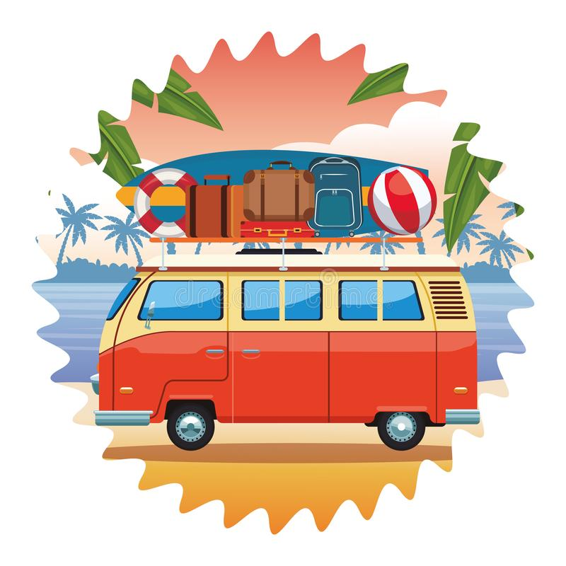 Camper van and beach items. Surfboard ball baggage buoy seascape colorful round vector illustration graphic design stock illustration