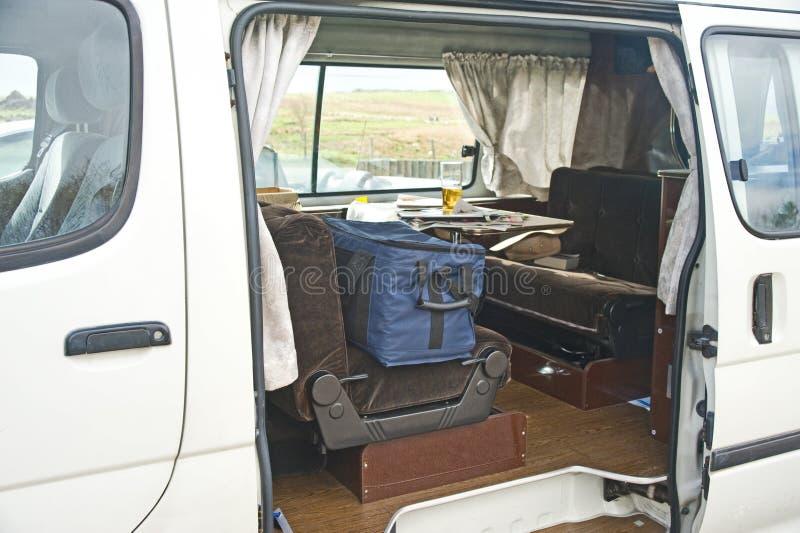 Camper van: comfortable interior. stock photo