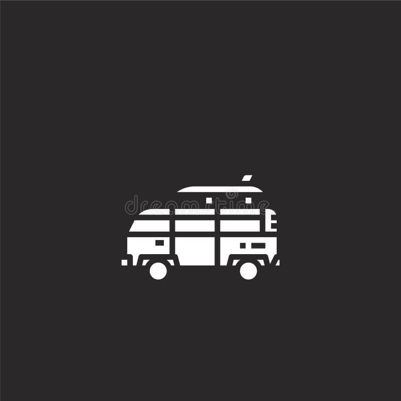 camper van icon. Filled camper van icon for website design and mobile, app development. camper van icon from filled retro vector illustration