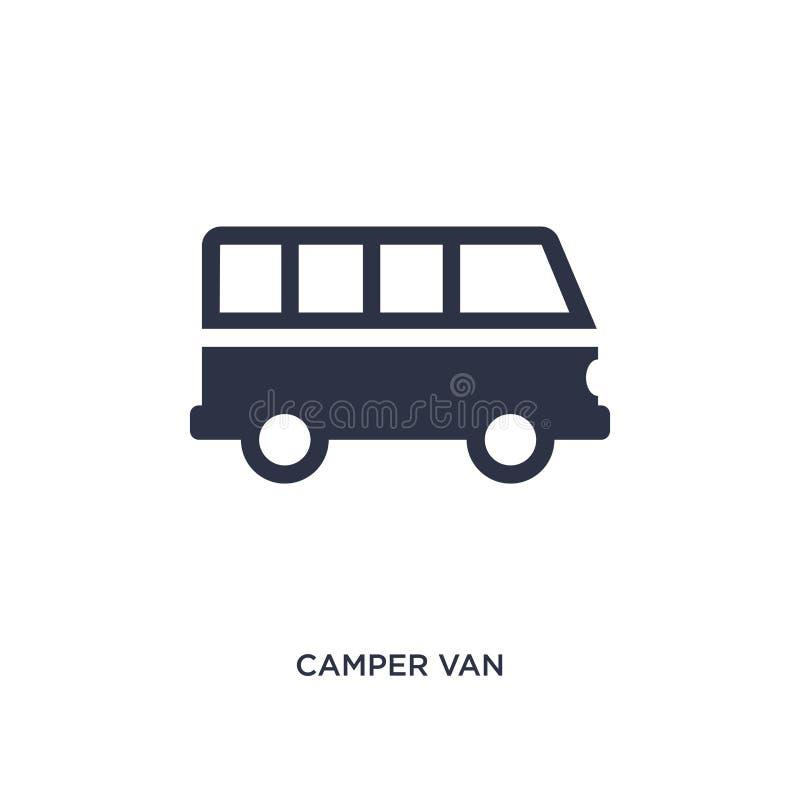 camper van icon op witte achtergrond Eenvoudige elementenillustratie van het kamperen concept stock illustratie
