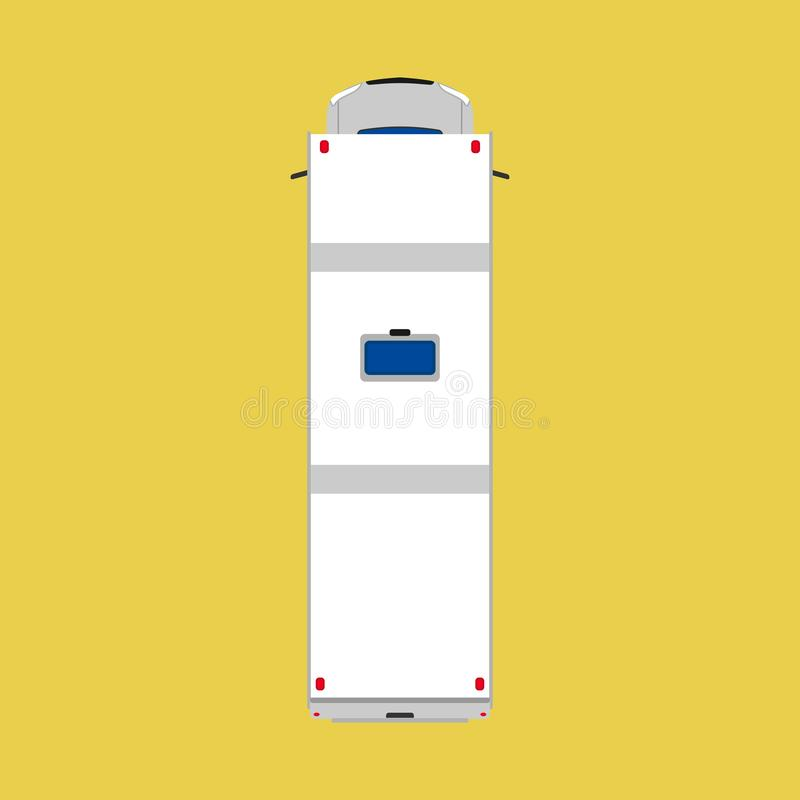 Camper van top view car illustration. Vacation vehicle travel summer bus. Caravan transport truck white. Cartoon flat family wagon royalty free illustration