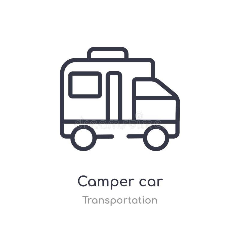 Camperauto-Entwurfsikone lokalisierte Linie Vektorillustration von der Transportsammlung editable Haarstrichcamper-Autoikone an vektor abbildung
