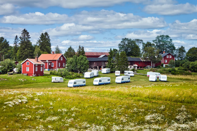 Download Campers and cabins stock photo. Image of meadow, recreational - 20559634