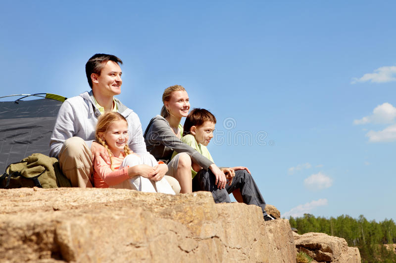 Campers On Cliff Royalty Free Stock Photo