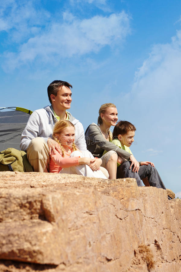 Campers on cliff stock image