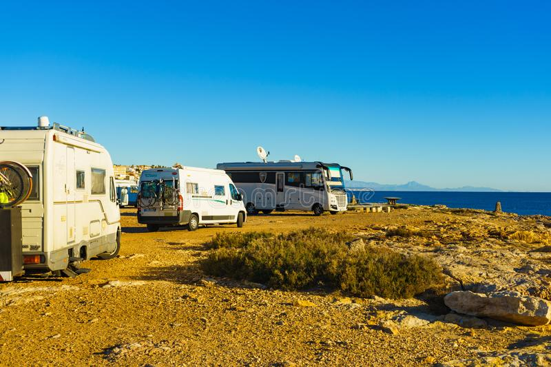 Campers on coast in Torrevieja on Januar 26, 2019, Spain royalty free stock images