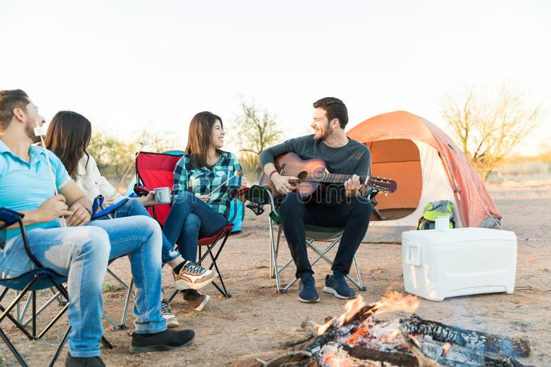 Campers Connecting With Nature And Having Fun royalty free stock photos