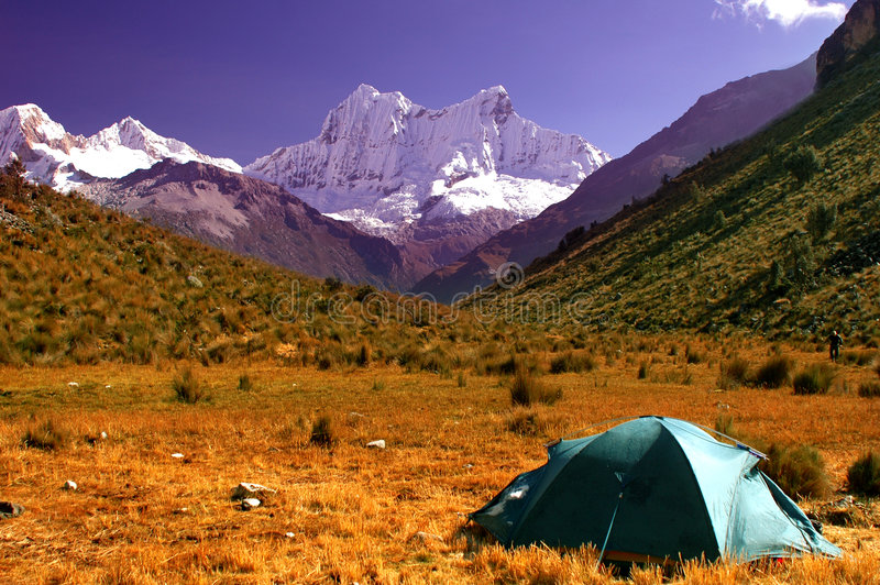 Campers On Cordillera Blanca Royalty Free Stock Image