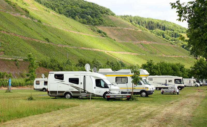 Campers on a field stock images
