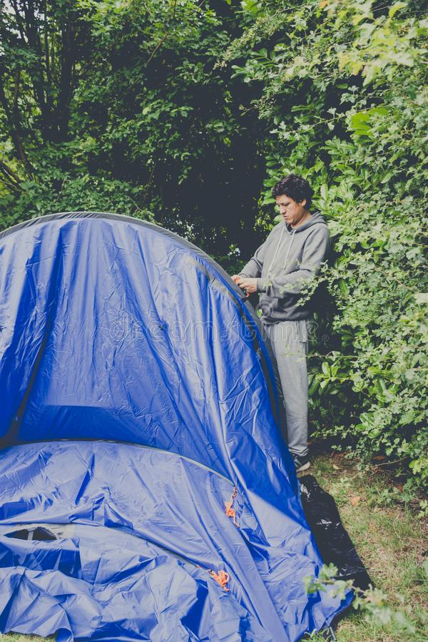 pitching tent royalty free stock photography