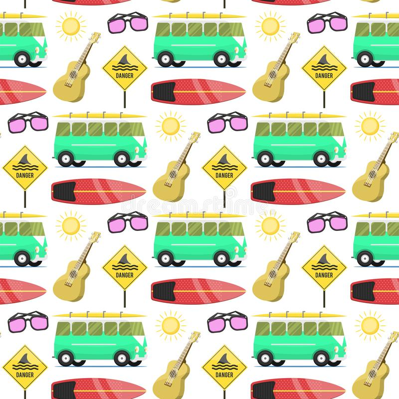 Campers vacation travel car summer nature seamless pattern background holiday trailer house vector illustration flat royalty free illustration