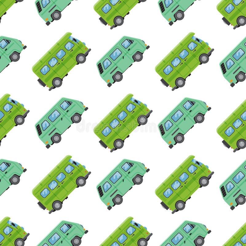 Campers vacation travel car summer seamless pattern trailer house vector illustration flat transport royalty free illustration