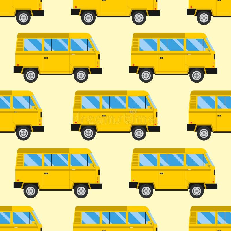 Campers vacation travel car summer seamless pattern trailer house vector illustration flat transport stock illustration