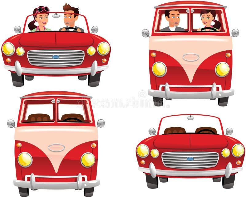Campervan и sportscar пары иллюстрация вектора