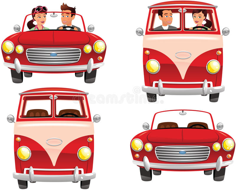 Campervan and sportscar couples vector illustration