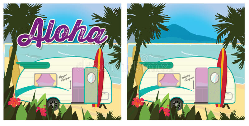 Campeur de partie de plage illustration stock