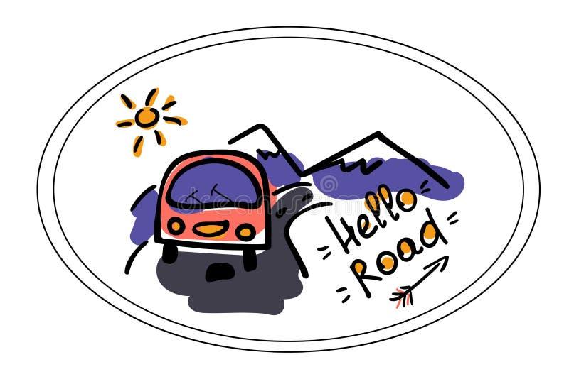 Campeur, route et montagnes Illustration stylis?e dans le style de griffonnage insigne de touristes Autocollants de silhouette de illustration stock