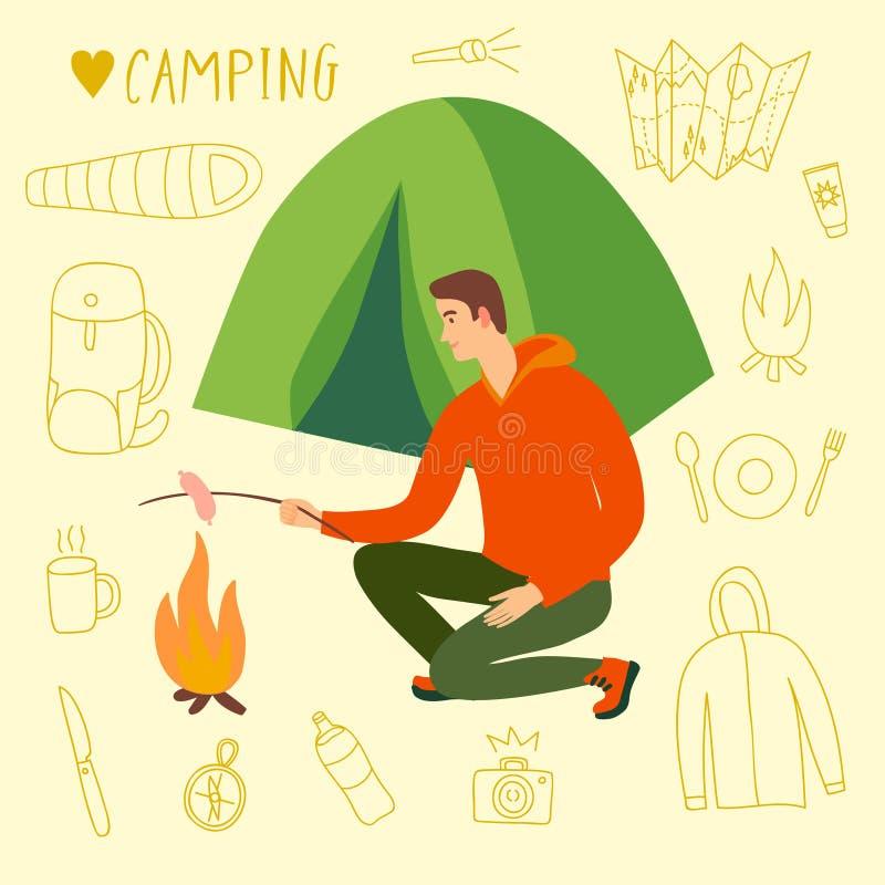 Campeur se reposant près de la tente faisant cuire la saucisse sur le feu illustration libre de droits