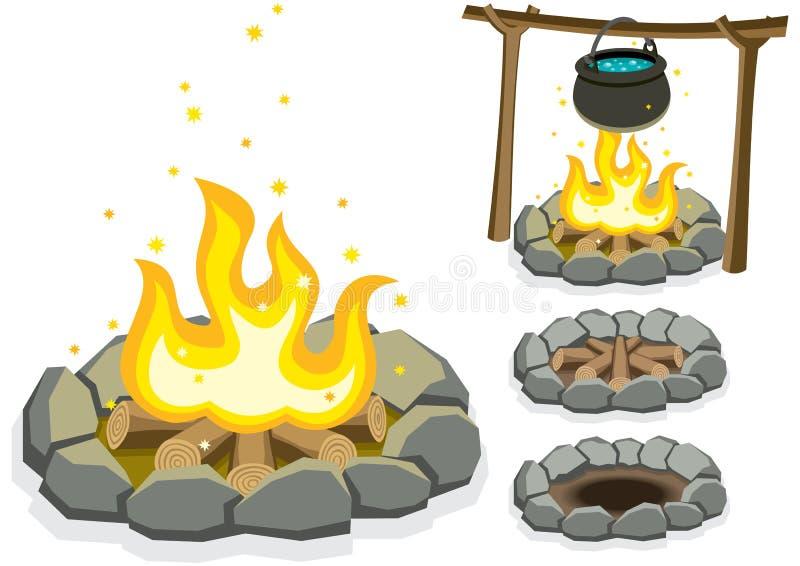 campfire royaltyfri illustrationer