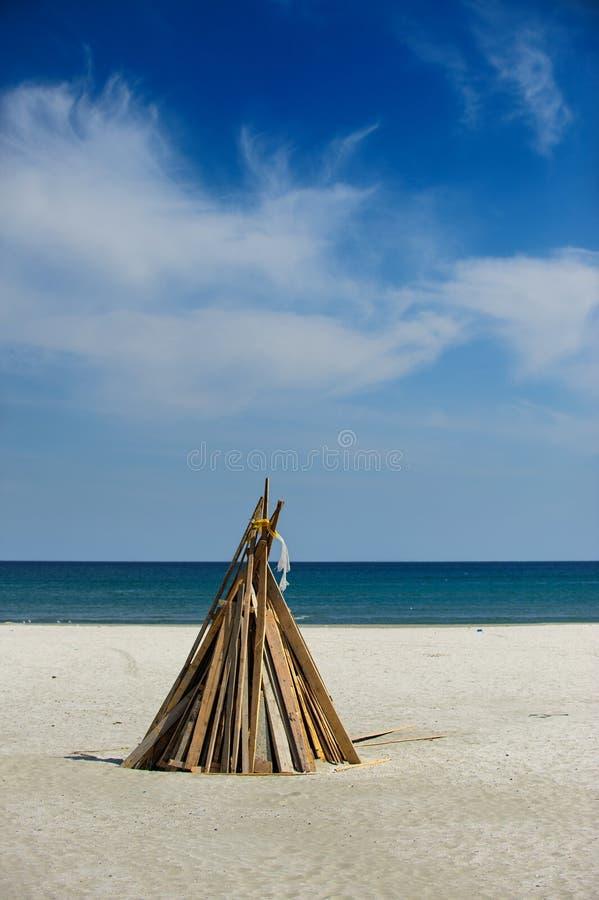 Campfire on beach royalty free stock photo