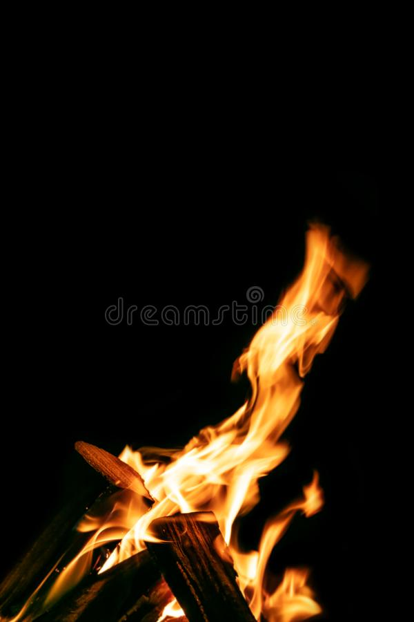 Campfire or bonfire with burning logs at night, black background stock photo