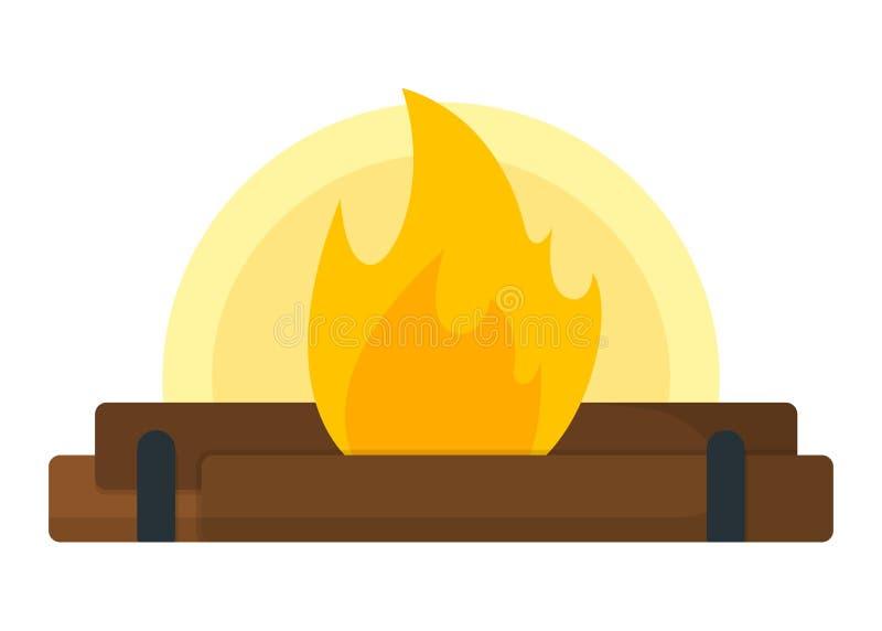 Campfire, bonfire icon. Open Fire on White Background. Tourism Web Icon, Banner, Symbol. Cartoon Vector illustration vector illustration