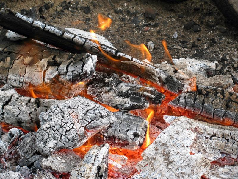 Low burning fire stock images