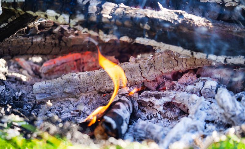 Campfire with burning firewood, macro. Glowing embers smoldering in the fireplace royalty free stock photo