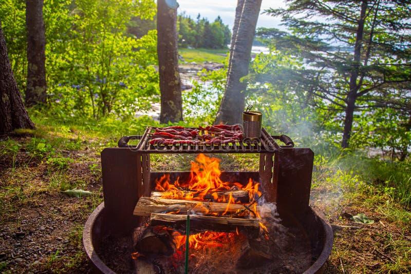 Campfire con manzo e lattina di fagiolo di grill fotografie stock libere da diritti