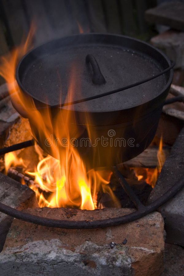 Campfire Cooking royalty free stock image