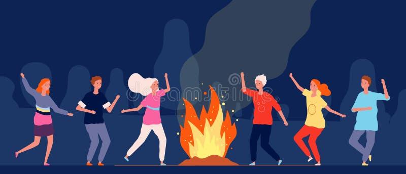Campfire-dans Mensen die vrolijke personages vinden op vectorgroepjes voor 's nachts kamperen vector illustratie