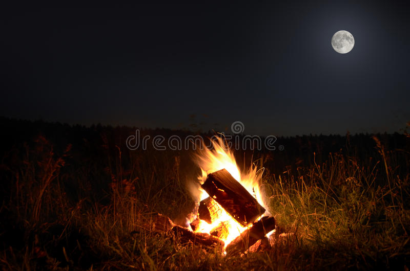 Download Campfire with full  moon stock photo. Image of moon, landscape - 32225724