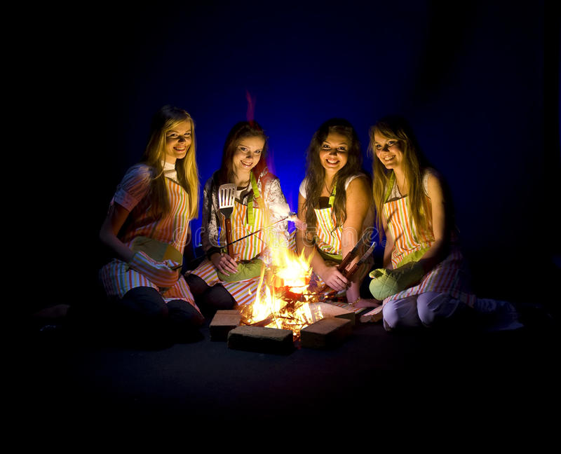 Download Campfire Girls stock photo. Image of night, lady, females - 10265956