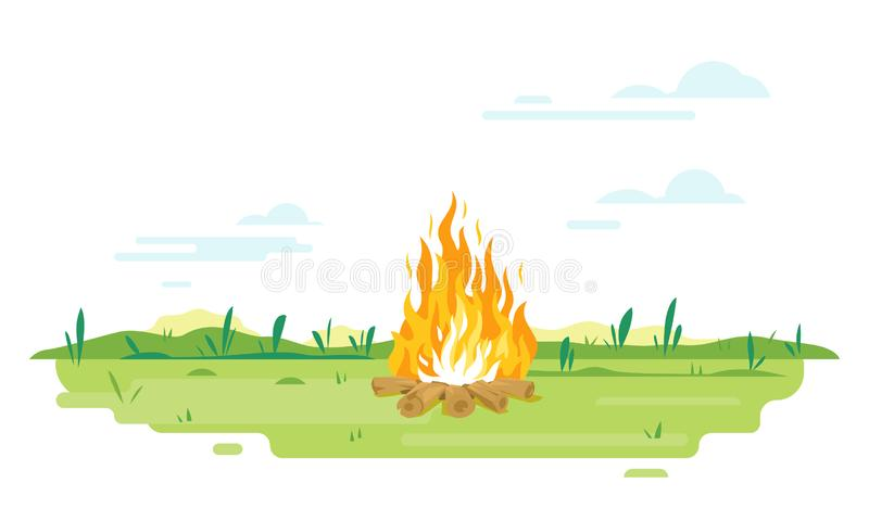 Campfire on green lawn. Campfire with long flames on green lawn, travel concept background in summer day with green grass isolated vector illustration