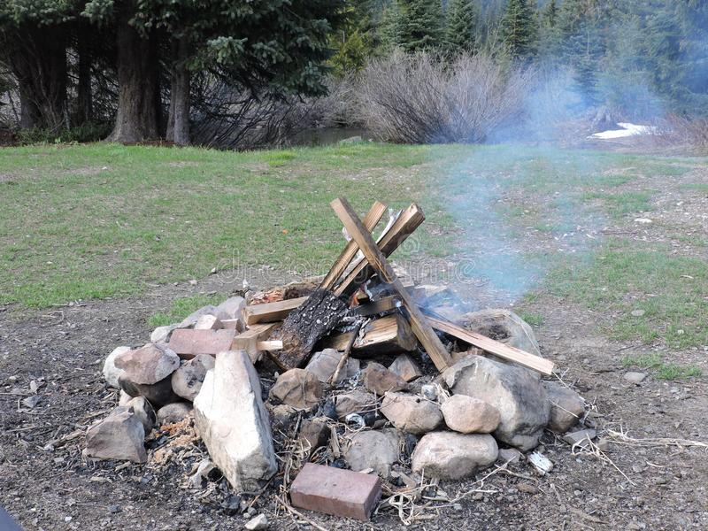 Campfire after hiking royalty free stock photos