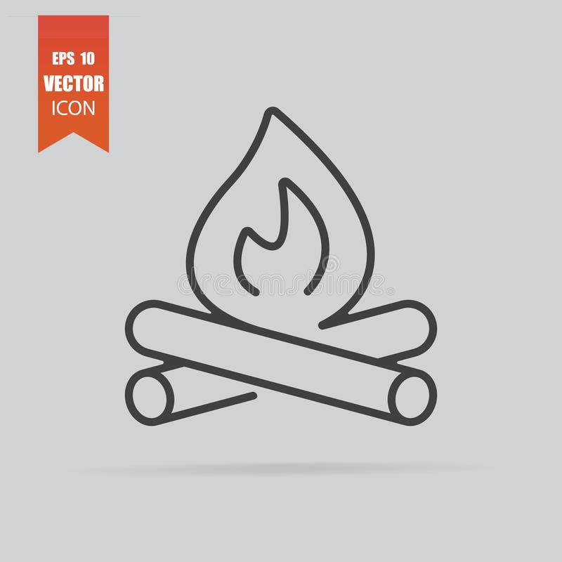 Campfire icon in flat style isolated on grey background stock photography